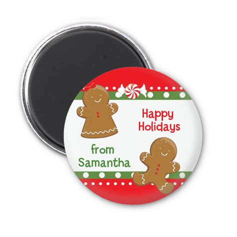 gingerbread personalized christmas magnet favors