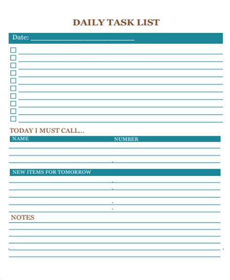 20 Free Task List Templates Free Premium Templates Daily Task List Template For Work