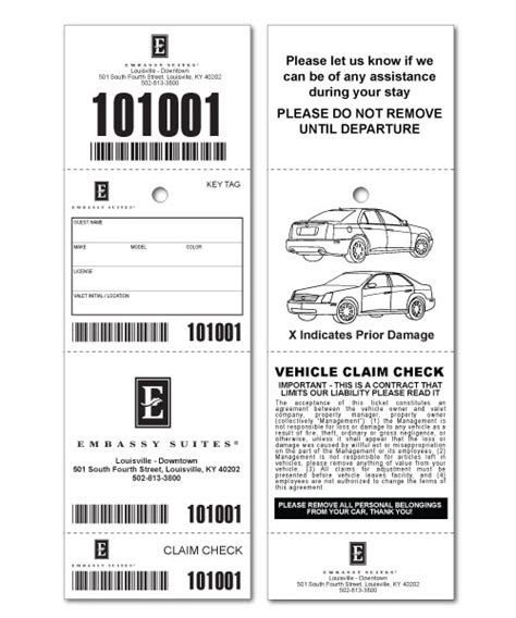 custom valet ticket valet tags car checks us ticket com
