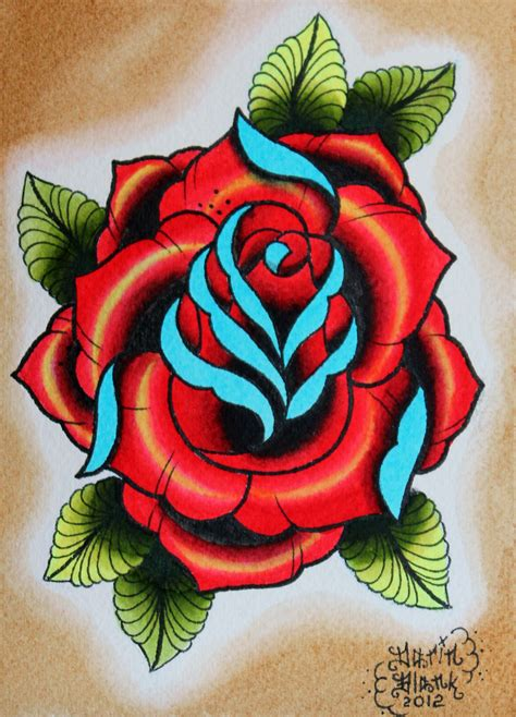 traditional english rose tattoo traditional flash http www