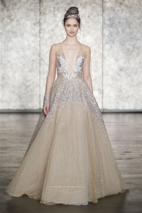 Inbal Dror V Neck Long Sleeve Sequin Golden Ball Gown