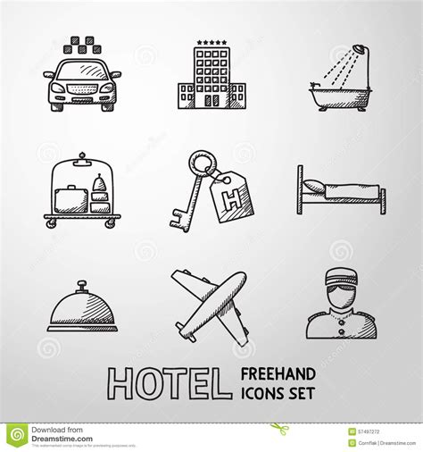 Set Kulo Bell Monocrome Hnc hotel and service monochrome freehand icons set stock vector image 57497272