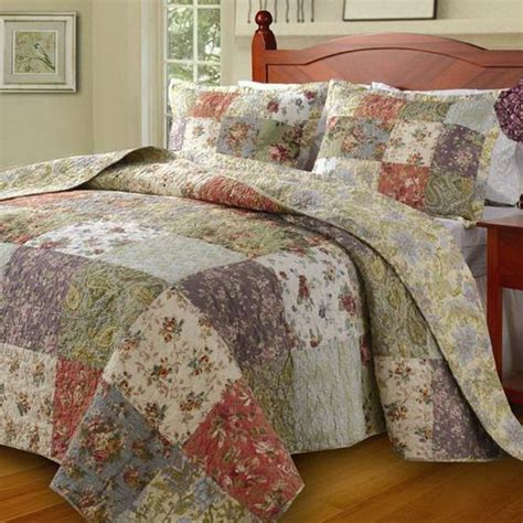 Country Cottage Patchwork Cotton Bedspread Set Oversized Country Cottage Bedding Sets