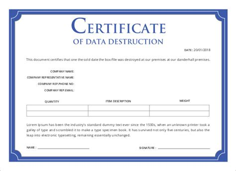 certificate of disposal template printable certificate template 46 adobe illustrator