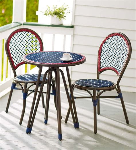 Wicker Patio Table And Chairs Americana Wicker Bistro Table And Chairs Set Outdoor Dining