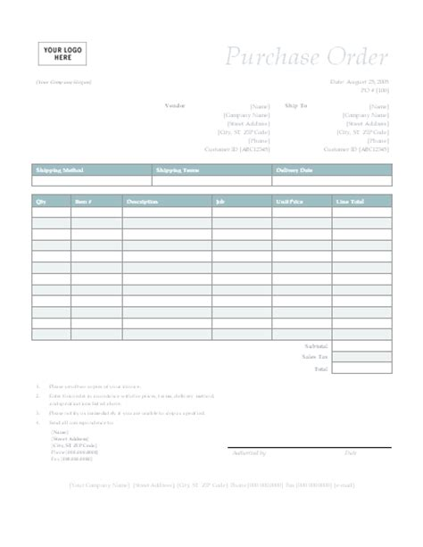 purchase order form template microsoft word templates