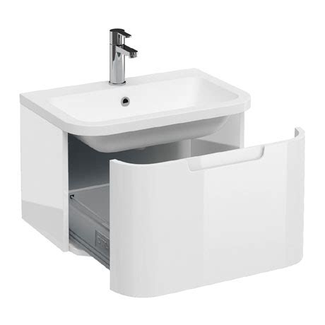 600mm Wall Hung Vanity Unit by White Compact Wall Hung Vanity Unit With Quattrocast Basin