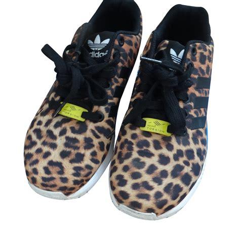 adidas zx flux sneakers cloth leopard print ref