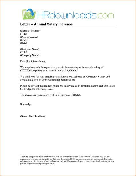 Effective Pay Raise Letter Sle Salary Increase Letter Template To Employee Letter Idea 2018