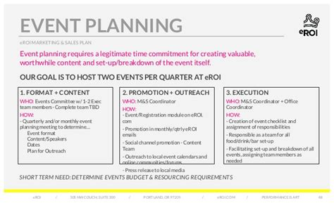 event planning report sle eroi marketing sales plan digital marketing