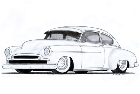 vintage cars drawings 1949 chevrolet fleetline custom coupe drawing by