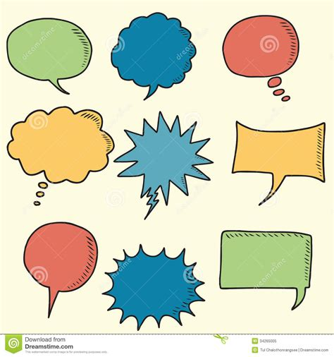 doodle speech free vector colorful speech bubbles doodle icons royalty free stock