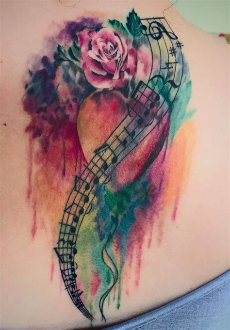 music and flower tattoo designs 25 best watercolor ideas on note