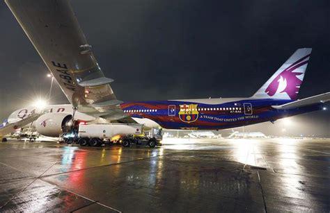 barcelona qatar airways qatar airways unveils fc barcelona livery allplane