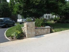Unusual Vanities Stone Veneer Driveway Entrance Garden Area With Pillar