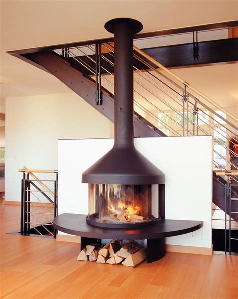 free standing wood burning fireplace living room