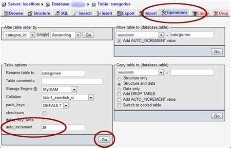 resetting id column to auto increment reset the auto increment value for a mysql table