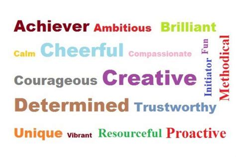 positive words to describe yourself in an