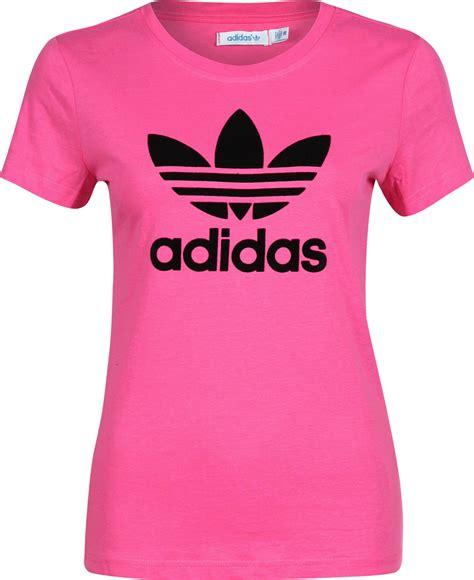 T Shirt Adidas Pink adidas trefoil w t shirt pink black