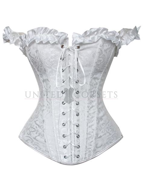 Vintage White Brocade Lace Up Boned Corset Overbust Bustier Tops S White Brocade Overbust Corset With Ruffle And Shoulder Sleeves