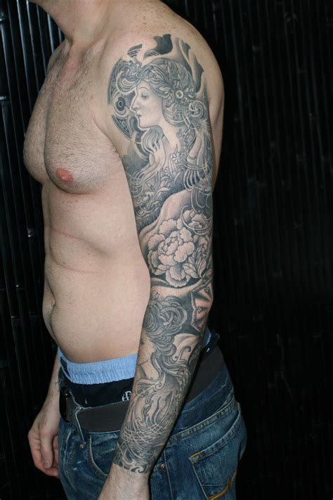 gray tattoo black gray sleeve tattooing by yoni zilber