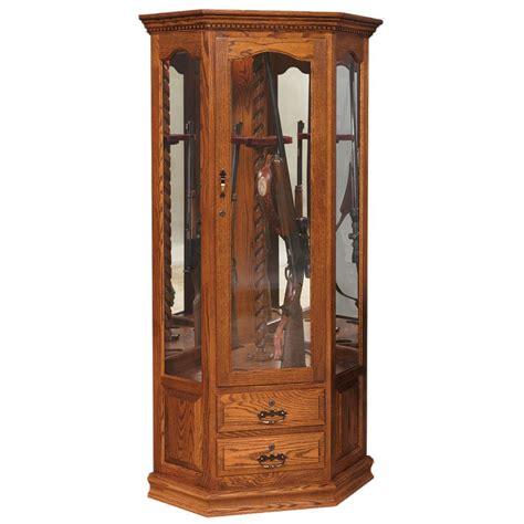 swivel corner gun cabinet amish crafted furniture