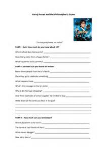 movie worksheet harry potter and the philosopher s stone