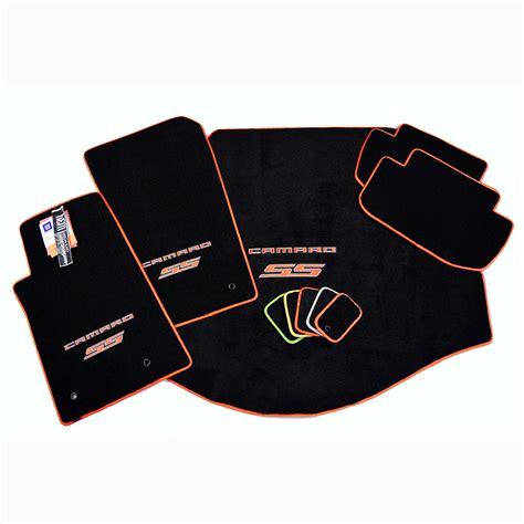 camaro mats chevrolet camaro ss floor mat set orange logo trim