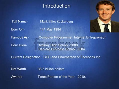 mark zuckerberg biography free download mark zuckerberg ppt