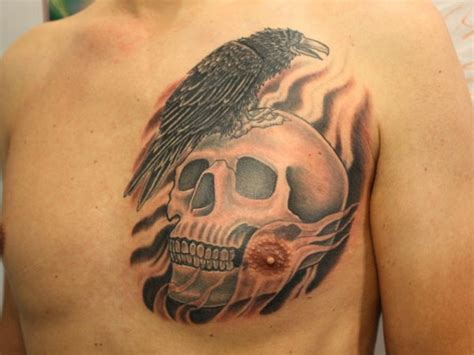 skull chest tattoos for men 45 cool chest tattoos for inspirationseek
