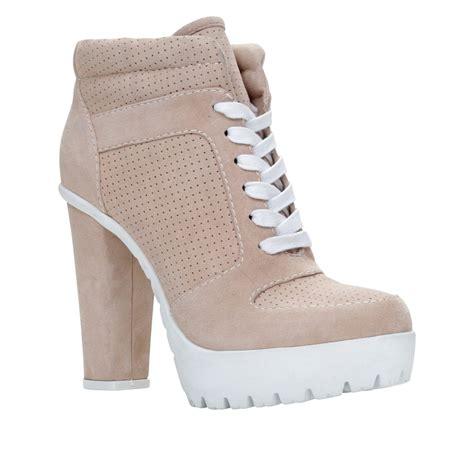 aldo nemyra platform lace up shoes in beige white lyst