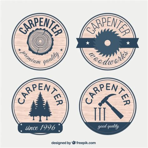 badges for carpentry with wood effect vector free download