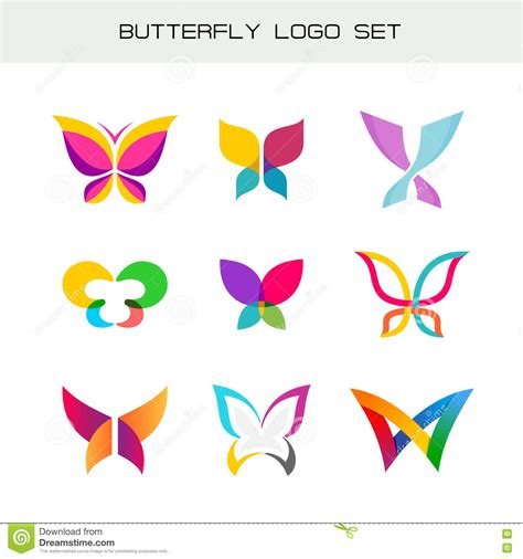 colorful butterfly logo butterfly colorful logo set stock vector illustration