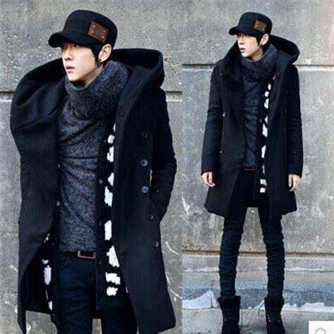 Trench Jacket Black Korean Style 2019 winter mens woolen trench coat hooded