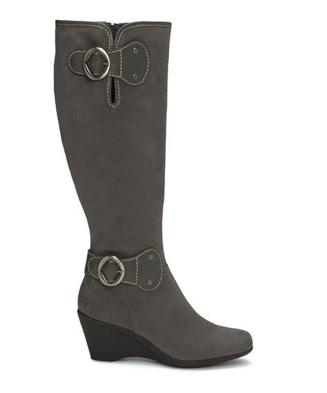 grey wide calf boots aerosoles aerosoles gray wonderling wedge wide calf boot