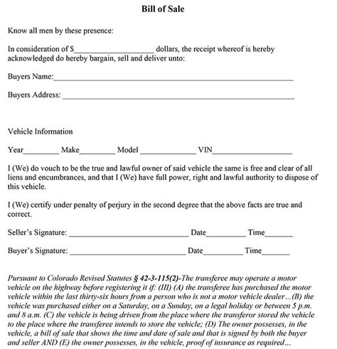 Colorado Bill Of Sale Form Bill Of Sale Colorado Template