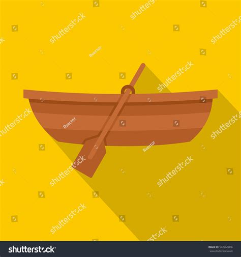 boat icon yellow wooden boat icon flat illustration wooden stock vector