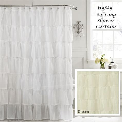 shower curtains 84 long white 84 quot long gypsy shabby chic ruffled fabric shower curtain