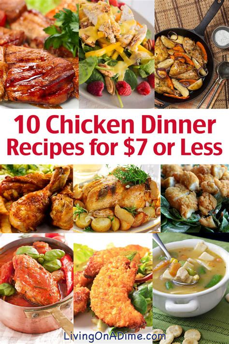 10 dinners for 5 cheap dinner recipes and ideas 10 chicken dinner recipes for 7 or less