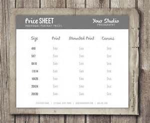 portrait pricing template price sheet for photographers photographer portrait pricing