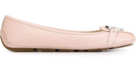 michael michael kors fulton leather ballet flats in pink