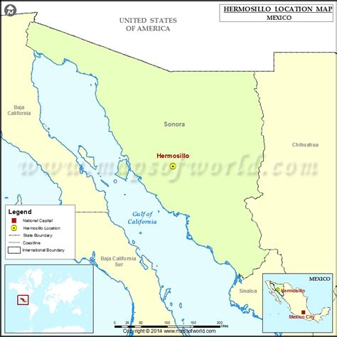 hermosillo sonora mexico map where is hermosillo location of hermosillo in mexico map