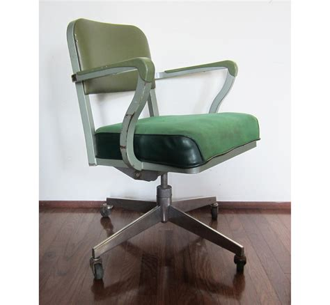 Vintage Office Chairs vintage steelcase green rolling computer office chair