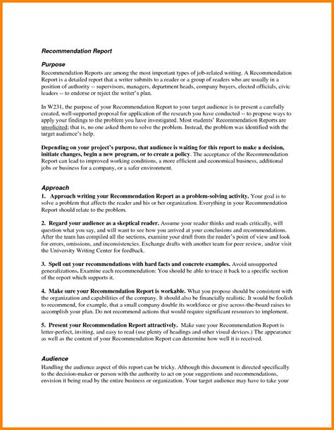 Recommendation Report Template 6 letter of recommendation for report buyer resume