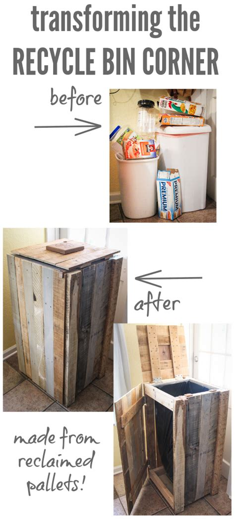 Trash From Closet by How To Build A Rustic Pallet Recycle Bin Or Trash Can