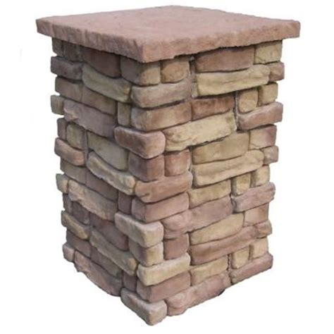 Decorative Columns Home Depot | random stone brown 42 in outdoor decorative column rscb42