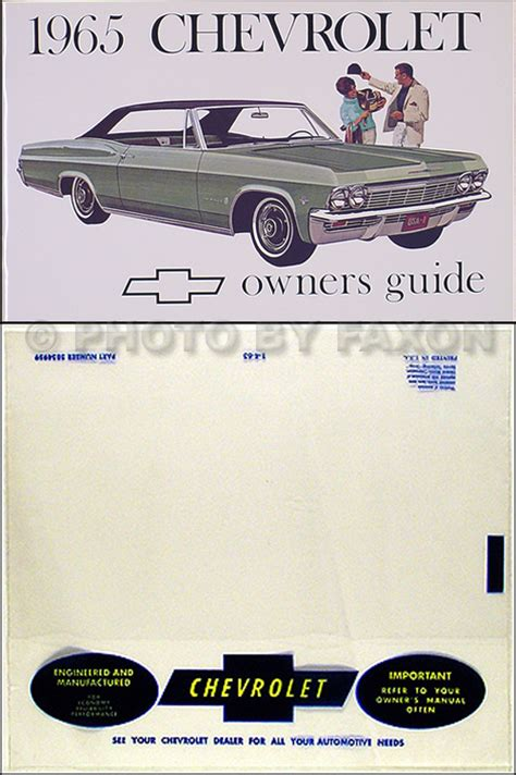 free auto repair manuals 1994 chevrolet impala ss regenerative braking 1965 chevy owners manual with envelope impala ss caprice bel air biscayne guide ebay