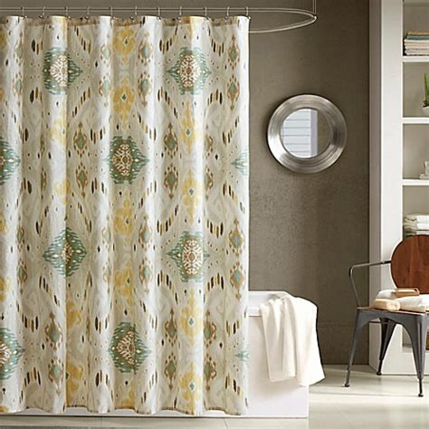 ivy shower curtain ink ivy nia printed shower curtain in seafoam bed bath