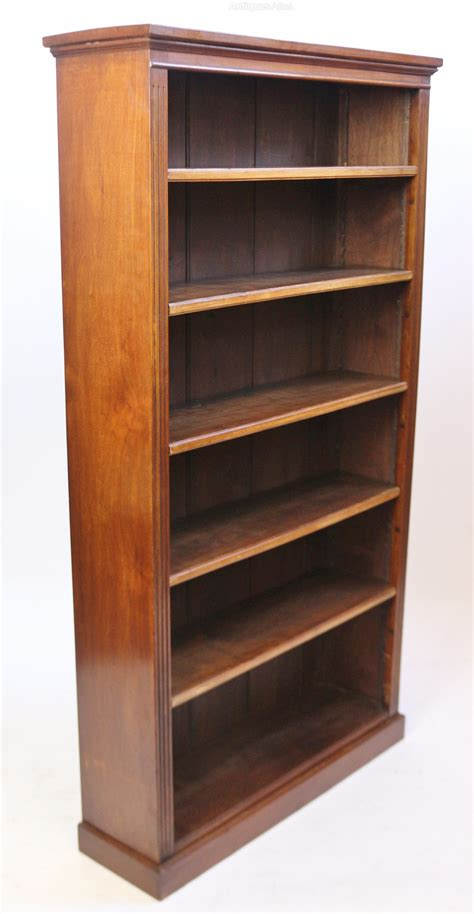 late victorian solid walnut tall open bookcase antiques