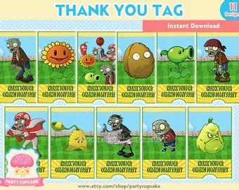 pvz card template plants vs zombies etsy